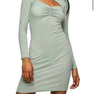 TOPSHOP Ribbed Cutout Mini Dress